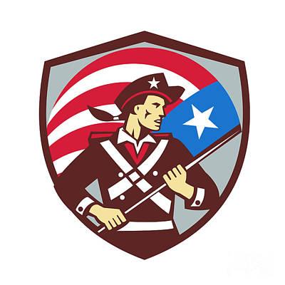American Patriot Holding Brandish Usa Flag Crest Retro Print by Aloysius Patrimonio