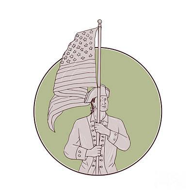 Waving Flag Digital Art - American Patriot Standing Usa Flag Circle Drawing by Aloysius Patrimonio