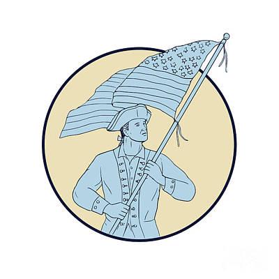 Waving Flag Digital Art - American Patriot Waving Usa Flag Circle Drawing by Aloysius Patrimonio