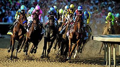 Race Horse Painting - Painting, American Pharoah, Jockey Victor Espinoza 4 Wide, First Turn, 141st Running Kentucky Derby by Thomas Pollart