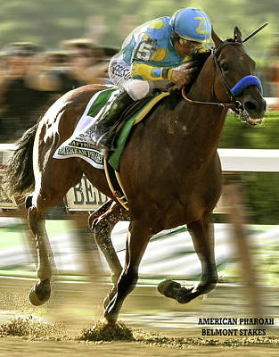 American Pharoah And Victory Espinoza Win The 2015 Belmont Stakes Art Print