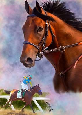 Secretariat Painting - American Pharoah by Becky Herrera