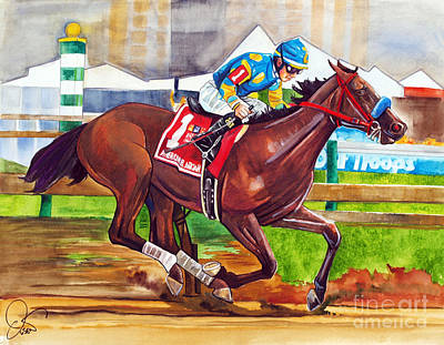Kentucky Horse Park Painting - American Pharoah by Dave Olsen
