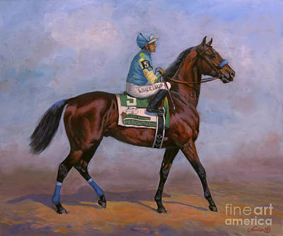 Race Horse Painting - American Pharoah by Jeanne Newton Schoborg