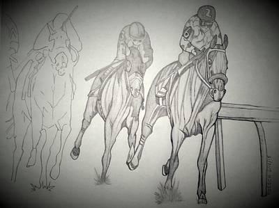 Tripple Drawing - American Pharoah by Roesch