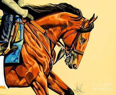 Painting - American Pharoah - Triple Crown Winner In Tan by Cheryl Poland