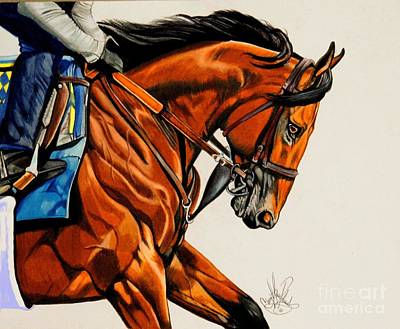 American Pharoah - Triple Crown Winner In White Art Print by Cheryl Poland