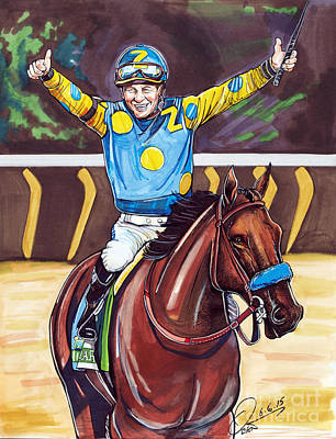 Victor Drawing - American Pharoah The Triple Crown by Dave Olsen