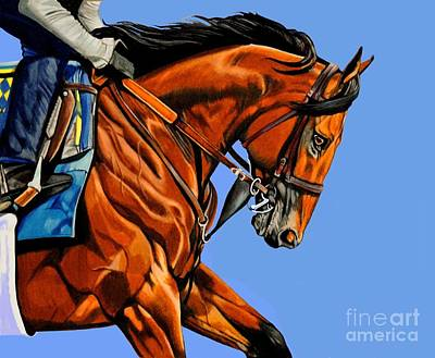 Painting - American Pharoah - Triple Crown Winner In Blue by Cheryl Poland