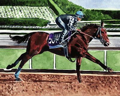Kentucky Derby Painting - American Pharoah Triple Crown Winner by Laura Row
