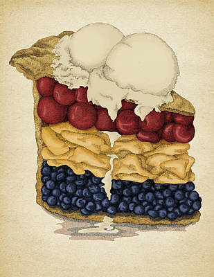 American Food Drawing - American Pie by Meg Shearer