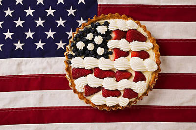 Strawberry Photograph - American Pie On American Flag  by Garry Gay