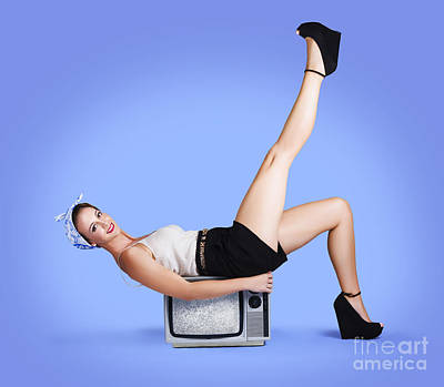 Photograph - American Pin-up Model On Retro Style Tv Set by Jorgo Photography - Wall Art Gallery