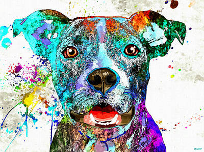Abstract Of Dogs Mixed Media - American Pit Bull Terrier by Daniel Janda