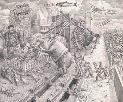 Chinese American Drawing - American Politics by Fremont Thompson