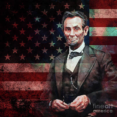 Painting - American President Abraham Lincoln 01 by Gull G