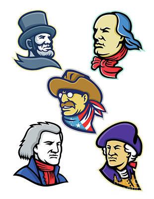 Politicians Digital Art - American Presidents and Statesman Mascot Collection by Aloysius Patrimonio