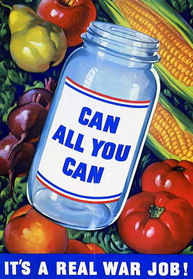Vegetables Drawing - American Propaganda Poster Promoting Canned Food by American School