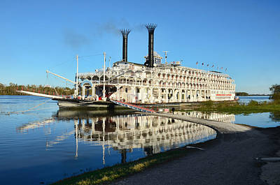 Photograph - American Queen Steamboat Reflections On The Mississippi River by David Lawson