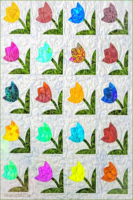 Homemade Quilts Photograph - American Quilt  Tulips by LeeAnn McLaneGoetz McLaneGoetzStudioLLCcom