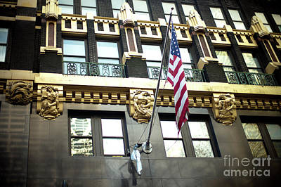 Photograph - American Radiator Building Patriotism by John Rizzuto