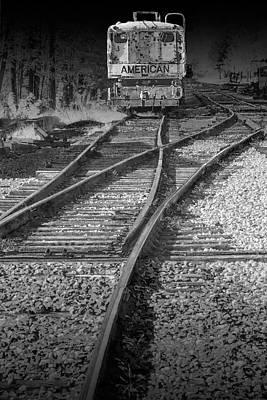 Photograph - American Railroad Crane On The Tracks In Infrared Black And White by Randall Nyhof