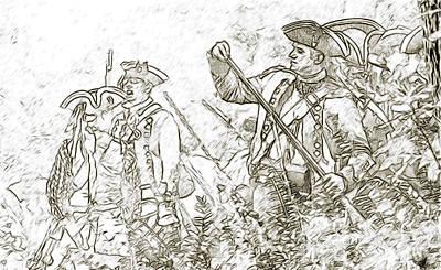 American Revolution Battle Sketch Art Print by Randy Steele
