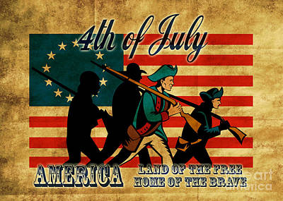 American Revolution Soldier Marching Art Print by Aloysius Patrimonio