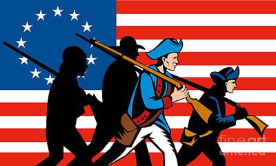 American Revolutionary Soldier Marching Art Print by Aloysius Patrimonio