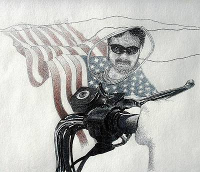 Drawing - American Rider by Tony Ruggiero