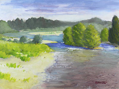 Painting - American River View West From Bike Bridge by Mike Patterson
