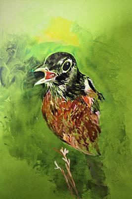 Painting - American Robin by Khalid Saeed