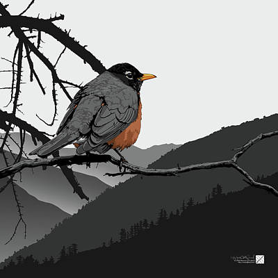 Digital Art - American Robin by Marcus England
