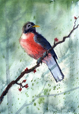 Painting - American Robin by Sean Seal