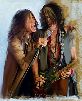 Aerosmith Painting - American Rock  Steven Tyler And Joe Perry by Iconic Images Art Gallery David Pucciarelli