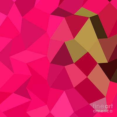 American Rose Abstract Low Polygon Background Art Print
