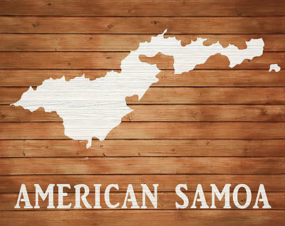 Landmarks Mixed Media - American Samoa Rustic Map On Wood by Dan Sproul