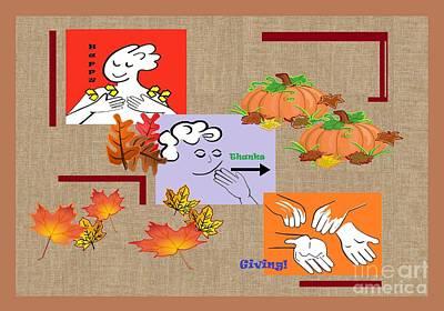 American Sign Language Asl Happy Thanksgiving Art Print