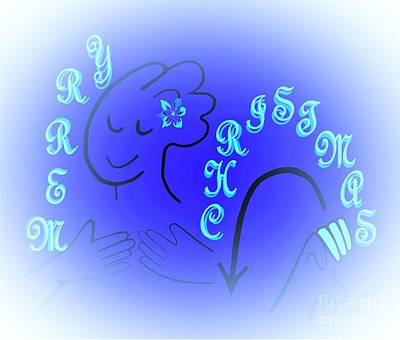 American Sign Language Merry Christmas Blue Version Art Print by Eloise Schneider