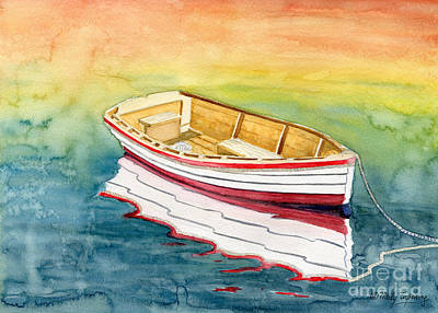 Maine Painting - American Skiff Reflection by Melly Terpening