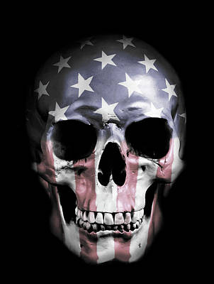 Stripes Mixed Media - American Skull by Nicklas Gustafsson