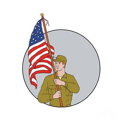 Flag Pole Digital Art - American Soldier Holding Usa Flag Circle Drawing by Aloysius Patrimonio