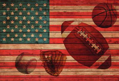 Baseball Players Mixed Media - American Sports Barn Door by Dan Sproul