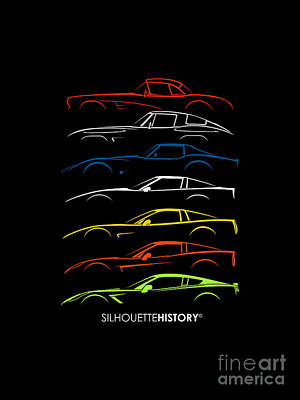 Chevrolet Digital Art - American Sports Car Silhouettehistory by Gabor Vida