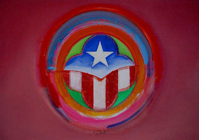 Symbol Painting - American Star Button by Charles Stuart