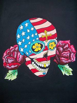 Rose And Skull Painting - American Stars And Stripes Sugar Skull  by Teresa Hales