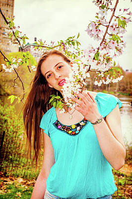 Photograph - American Teenage Girl Loving Flowers At Central Park In New York by Alexander Image