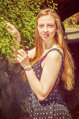Photograph - American Teenage Girl Loving Green In Spring Day In New York by Alexander Image