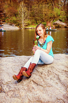 Photograph - American Teenage Girl Miss You, Holding White Rose By Lake In Ne by Alexander Image