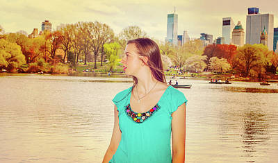 Photograph - American Teenage Girl Traveling In New York At Central Park by Alexander Image